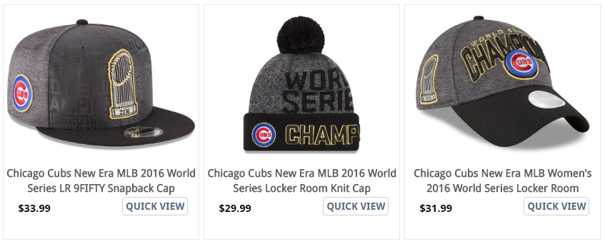 Championship Locker Room onfield Caps - cubs world series win