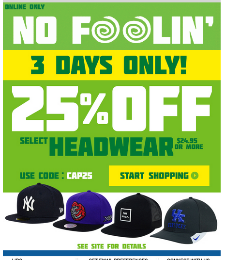 Lids Custom Hats >> April Fools Lids Coupon Code, 25% off hats, 3 days only