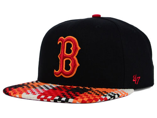 Black and Red, Pattern Brim, 47 Brand Snapback Cap