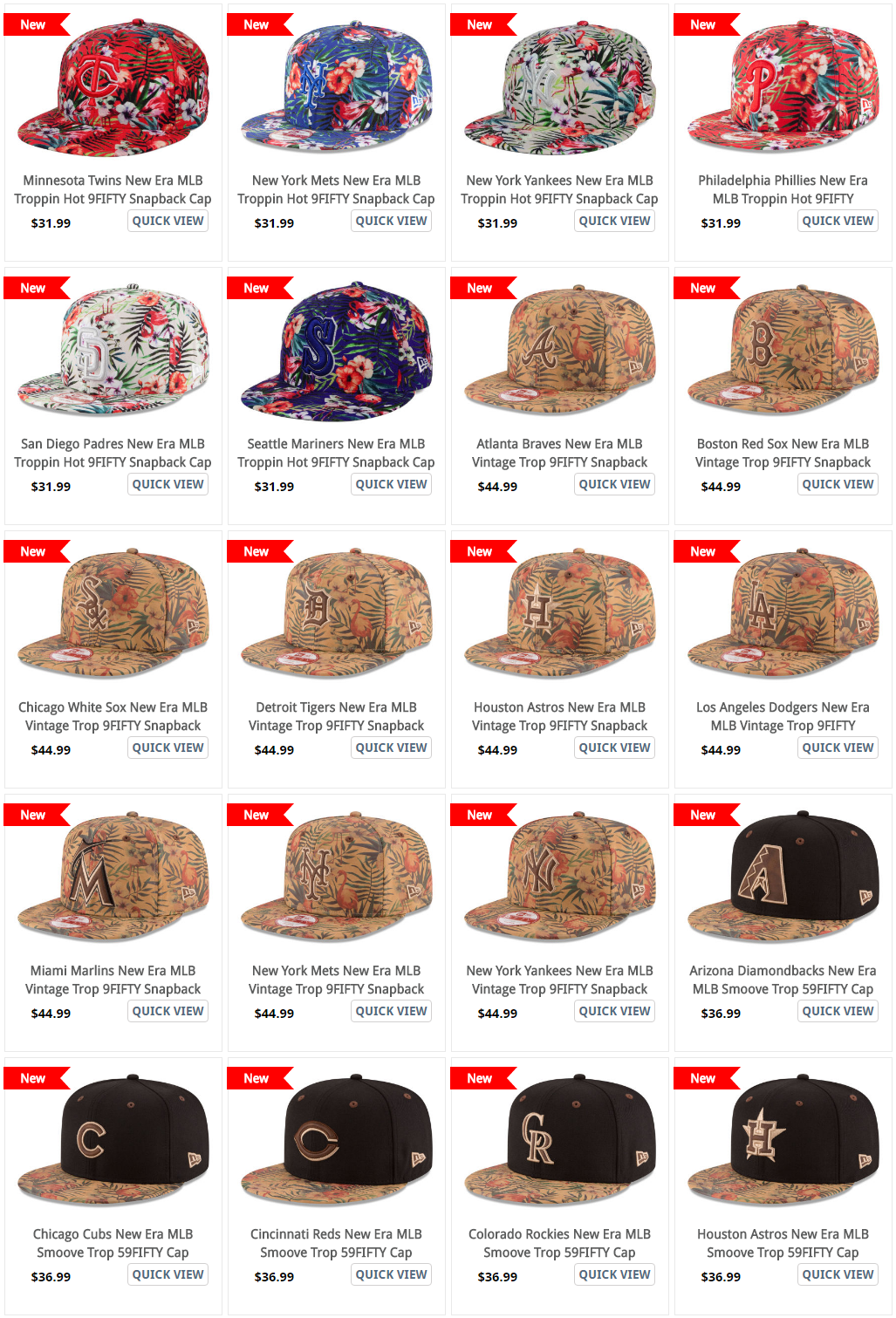 4a99fb7dddf ... MLB Tropical Print Vintage Hat from New Era NEw ERa MLB Tropical Print  Smoove Tropic Hats