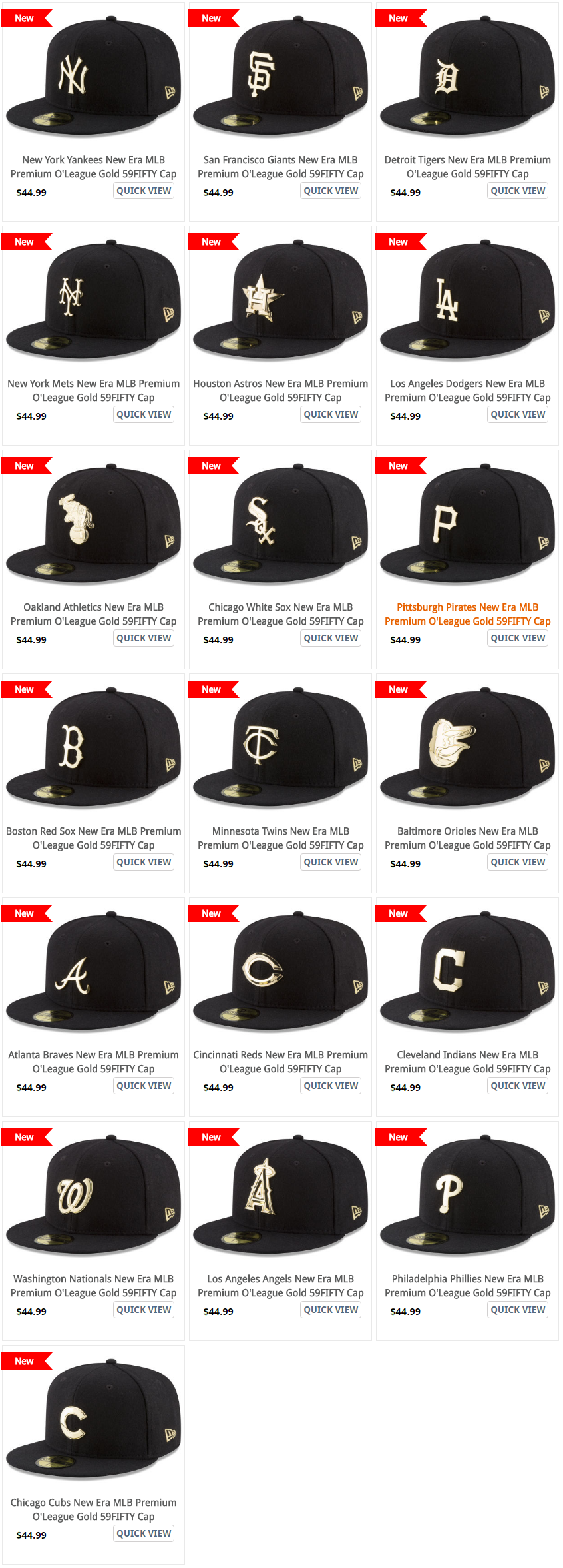 MLB Teams with Gold Plated 59fifty Caps